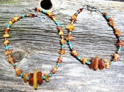 Amber Turquoise People Necklace